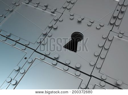 Metal plates armored surface keyhole, 3d illustration, horizontal, background, wallpaper
