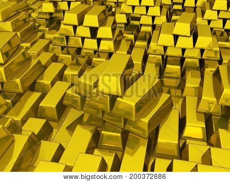 Golden bars many stacked and stored 3d illustration horizontal