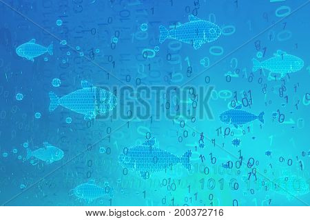 Virtual blue glowing fish swimming in code habitat 3d illustration horizontal