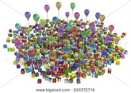 Gift large bunch party 3d illustration colorful horizontal isolated over white
