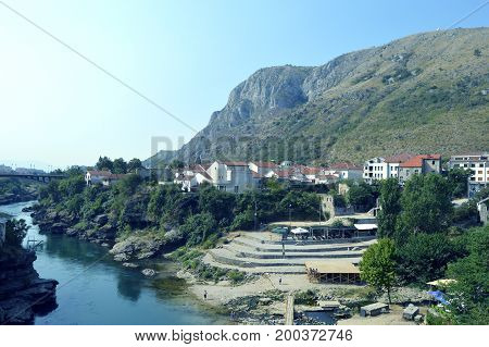 Travel to Europe under summer,Mostar in the Bosnia and Herzegovina