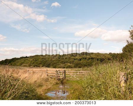 A Water Logged Country Walk Meadow Scene With Wooden Fence And Gate Blocked