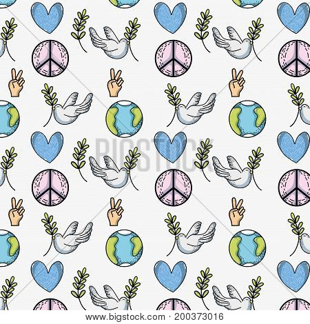 global peace and love to worldwide harmony background vector illustration