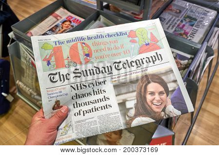 LONDON ENGLAND - MAY 14 2017 : The Sunday Telegraph newspaper. The Sunday Telegraph is a British broadsheet newspaper founded in February 1961 and is published by the Telegraph Media Group