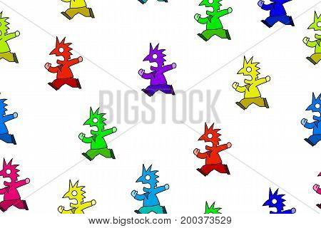 Colorful humorous symbolic running people seamless vector texture pattern horizontal over white