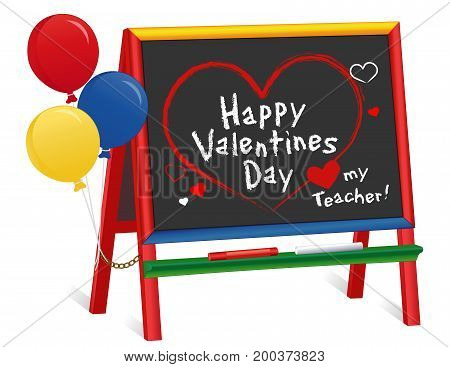 Happy Valentines Day, Love my teacher greetings, Hearts and kisses, chalk text on chalkboard with multi color ruler frame, for preschool, daycare, kindergarten, nursery and elementary school. Isolated on white background.