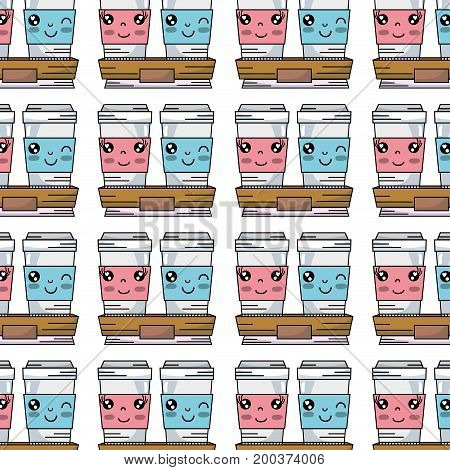 kawaii cute happy coffe plastic cup background vector illustration