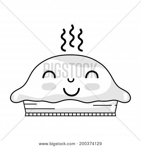 line kawaii cute happy sweet cake vector illustration