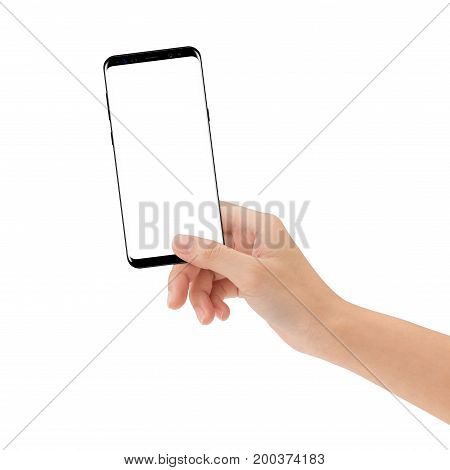 hand hold new smart phone isolated on white background