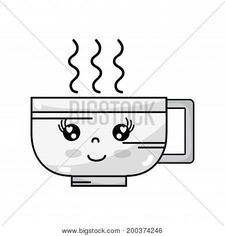 line kawaii cute happy coffee cup vector illustration