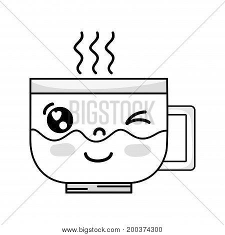 line kawaii cute funny coffee cup vector illustration