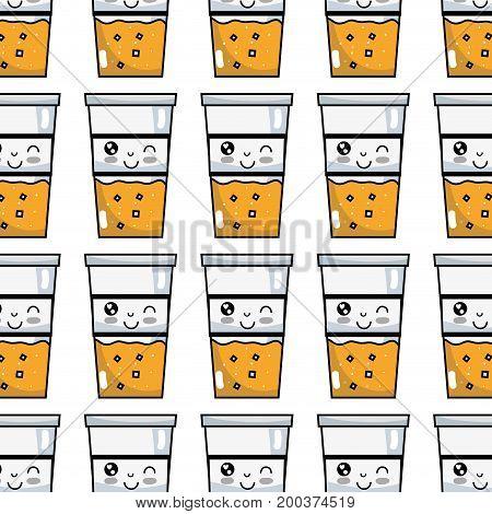 kawaii cute funny drink beverage background vector illustration