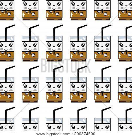 kawaii cute happy drink beverage background vector illustration