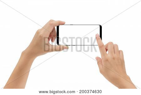 hand holding smartphone mobile and touching screen isolated on white background cliping path inside