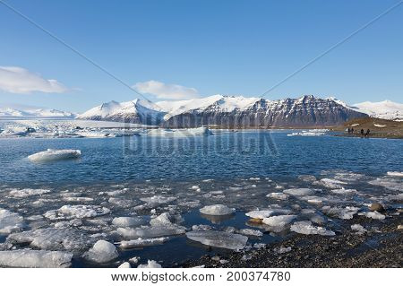 Jakulsalon winter lagoon with clear blue sky background Iceland natural landscape background