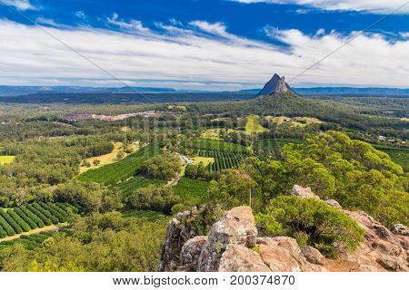 View from the summit of Mount Ngungun, Glass House Mountains, Sunshine Coast, Queensland, Australia