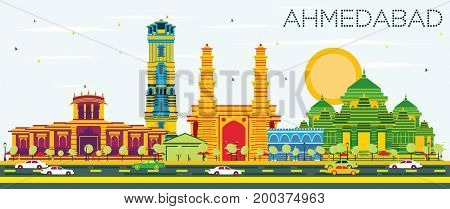 Ahmedabad Skyline with Color Buildings and Blue Sky. Business Travel and Tourism Concept with Historic Architecture. Image for Presentation Banner Placard and Web Site.