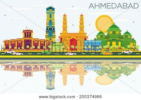 Ahmedabad Skyline with Color Buildings, Blue Sky and Reflections. Business Travel and Tourism Concept with Historic Architecture. Image for Presentation Banner Placard and Web Site.