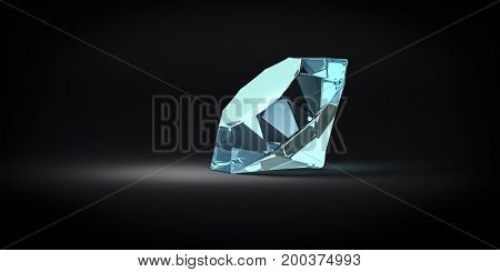 3d illustration of a reflective blue gem stone