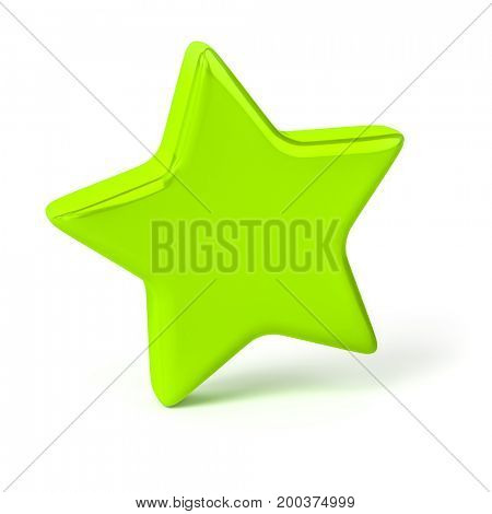 3d illustration of a stylish green star
