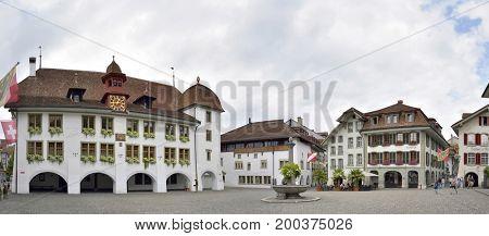 Panorama City Hall Square in Thun, Switzerland 23 july 2017