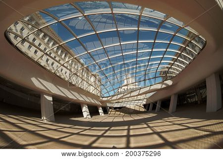 SOFIA, BULGARIA - JULY 31, 2017: the offices of National Assembly in Sofia it seen through the structure of modern glass dome, Bulgaria