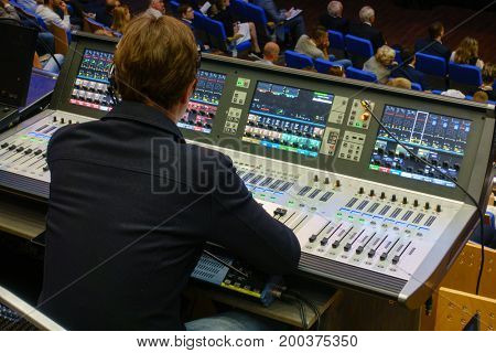 Video and audio engineer working at the event