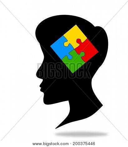Four pieces jigsaw puzzle and head silhouette