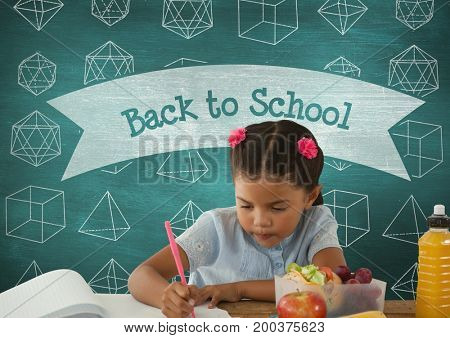 Digital composite of Student girl at table writing against blue blackboard with back to school text and education and sch
