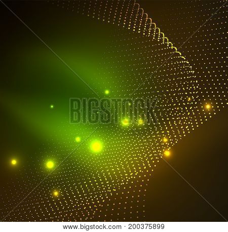 3D illuminated wave of glowing particles. HUD design element. Technology digital splash concept
