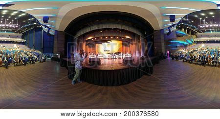 Svetlogorsk, Russia - July 29, 2017: Audience listens to the lecturer at Amber Forum. 360 VR panorama