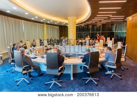 Svetlogorsk, Russia - July 29, 2017: Businesspeople at the round table during Amber Forum