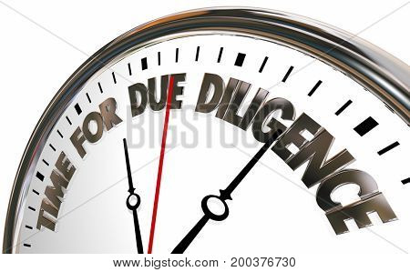 Time for Due Diligence Clock 3d Illustration
