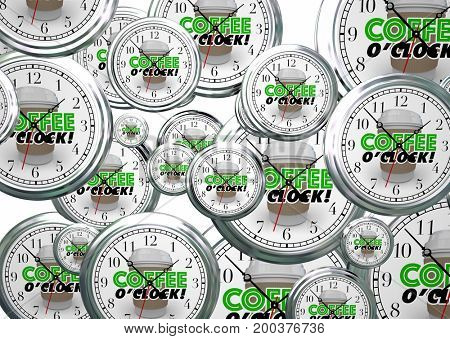 Coffee OClock Break Time Clocks 3d Illustration
