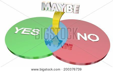 Yes No Maybe Venn Diagram Indecision 3d Illustration
