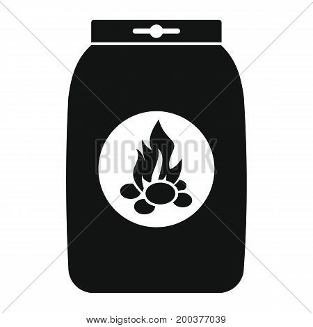 Charcoal paper bag grill in black simple silhouette style icons vector illustration for design and web isolated on white background. Charcoal paper bag grill vector object for labels advertising