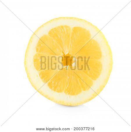 Sliced of delicious lemon on white background