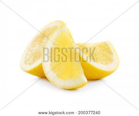 Delicious sliced lemons on white background
