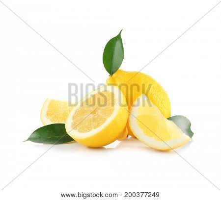 Delicious sliced lemons and leaves on white background
