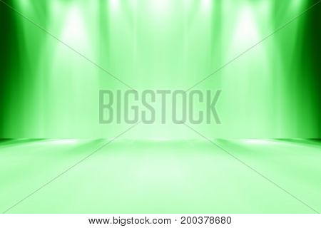 green empty room studio gradient used for background and display your product