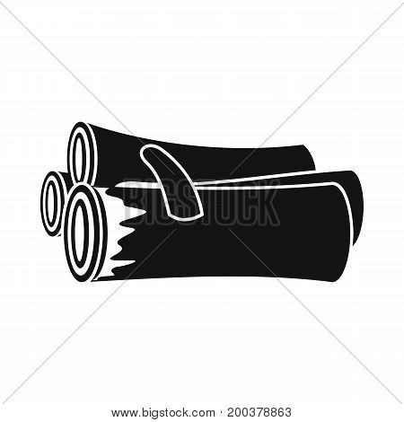 Firewood in black simple silhouette style icons vector illustration for design and web isolated on white background. Firewood vector object for labels advertising