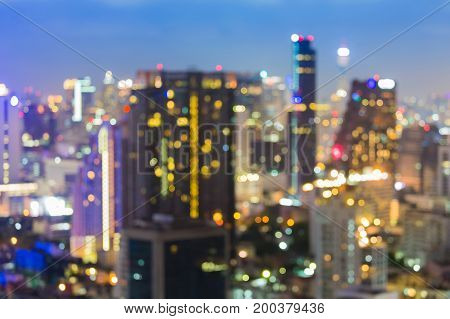 City blurred bokeh light office building downtown abstract background
