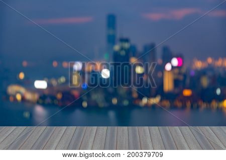 Opening wooden floor Aerial view blurred Hong Kong city aerial view abstract background