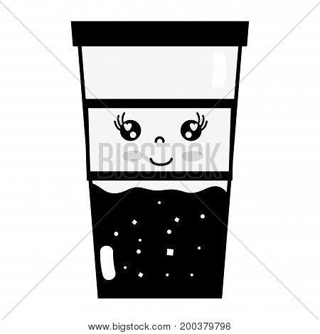 contour kawaii cute happy drink beverage vector illustration