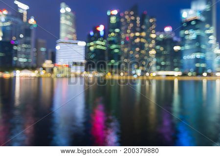 City office Singapore downtown blurred bokeh light at twilight abstract background