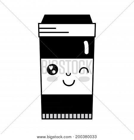 contour kawaii cute funny coffe plastic cup vector illustration