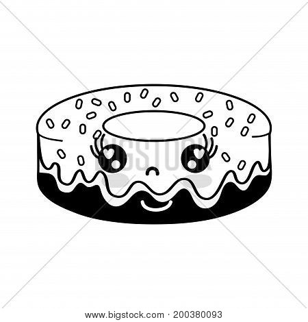 contour kawaii cute happy donut sweet vector illustration