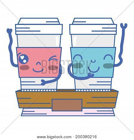 kawaii cute happy coffe plastic cup vector illustration