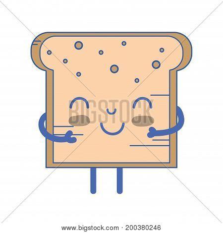 kawaii cute tender bread nutrition vector illustration