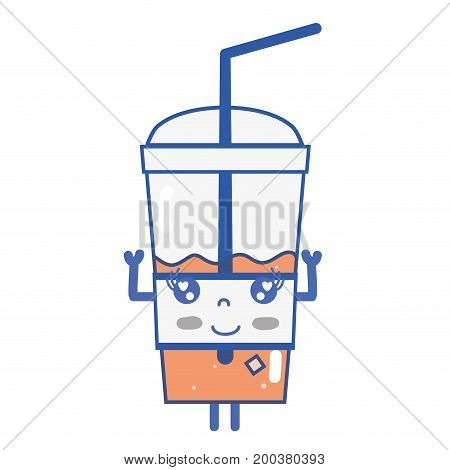kawaii cute happy smoothie drink vector illustration